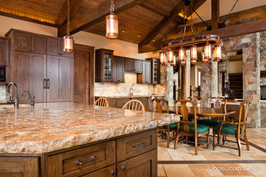 厨房咖啡色餐桌混搭风格装修设计图片