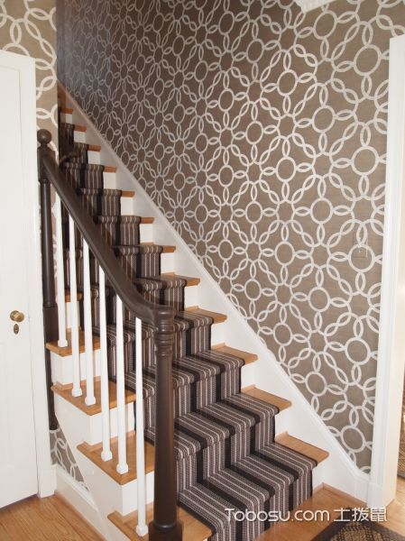 玄关橙色楼梯混搭风格装潢设计图片