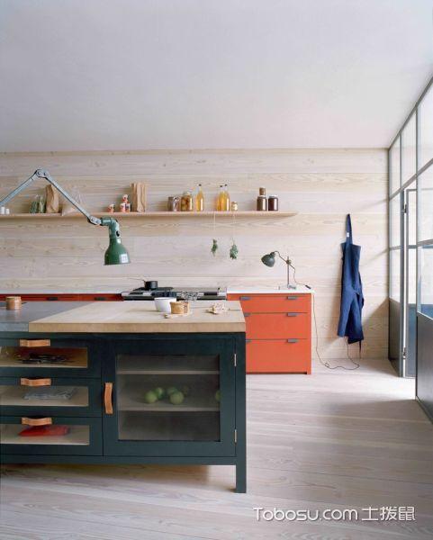 厨房米色地板砖北欧风格装潢图片