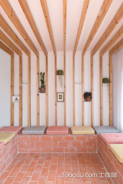 客厅咖啡色地砖北欧风格装潢设计图片