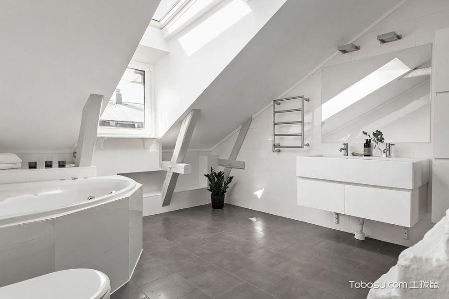 卫生间灰色地砖北欧风格装潢设计图片