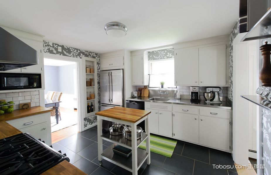 厨房白色吊顶混搭风格装饰设计图片
