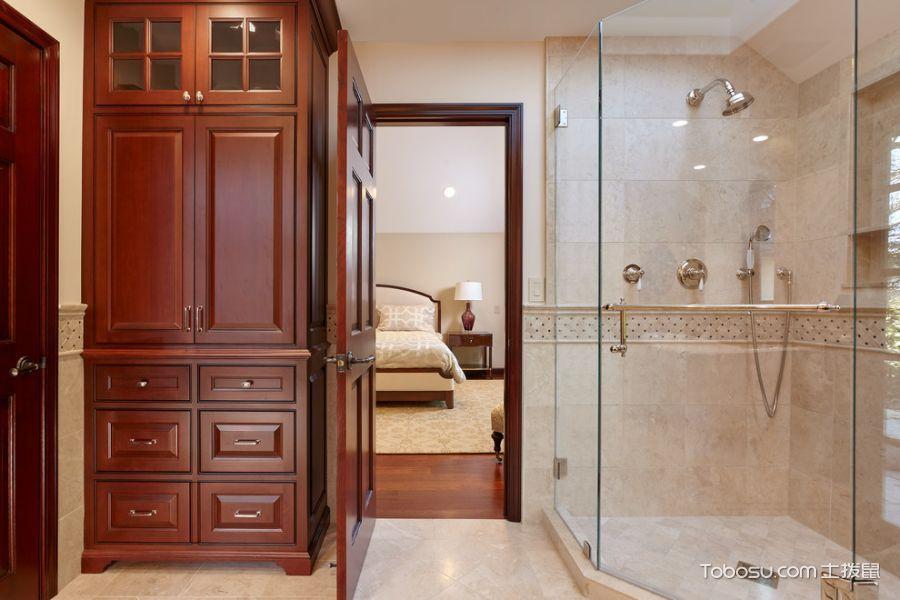 浴室白色地砖美式风格装修效果图
