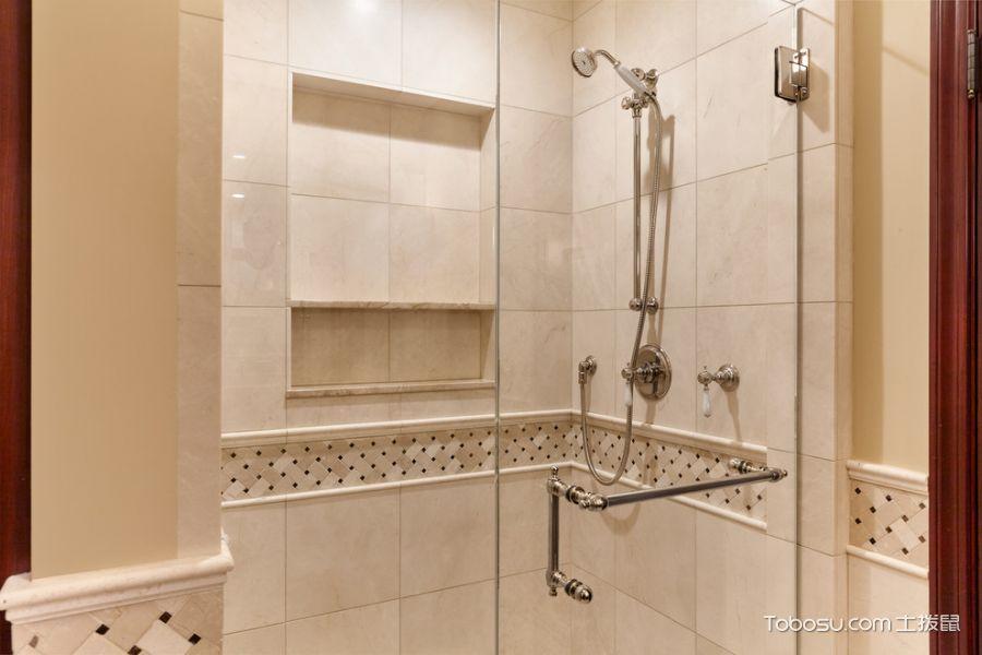 浴室黄色背景墙美式风格装潢设计图片