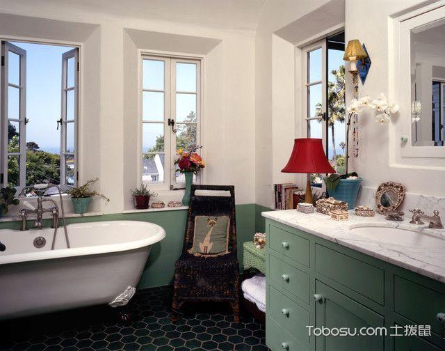 浴室黑色地砖地中海风格装潢效果图