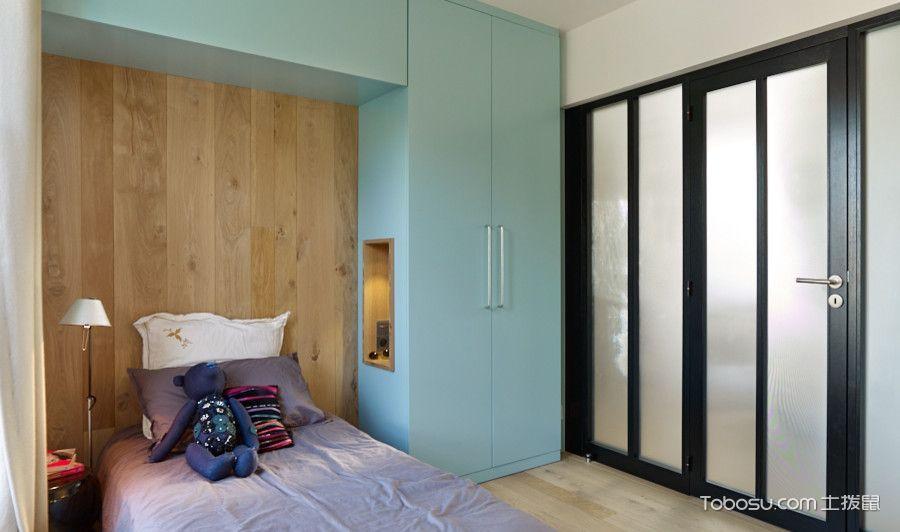 儿童房蓝色衣柜北欧风格装饰效果图
