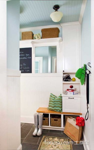 玄关白色门厅混搭风格装修图片