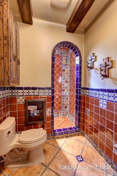 浴室橙色地砖地中海风格装修效果图