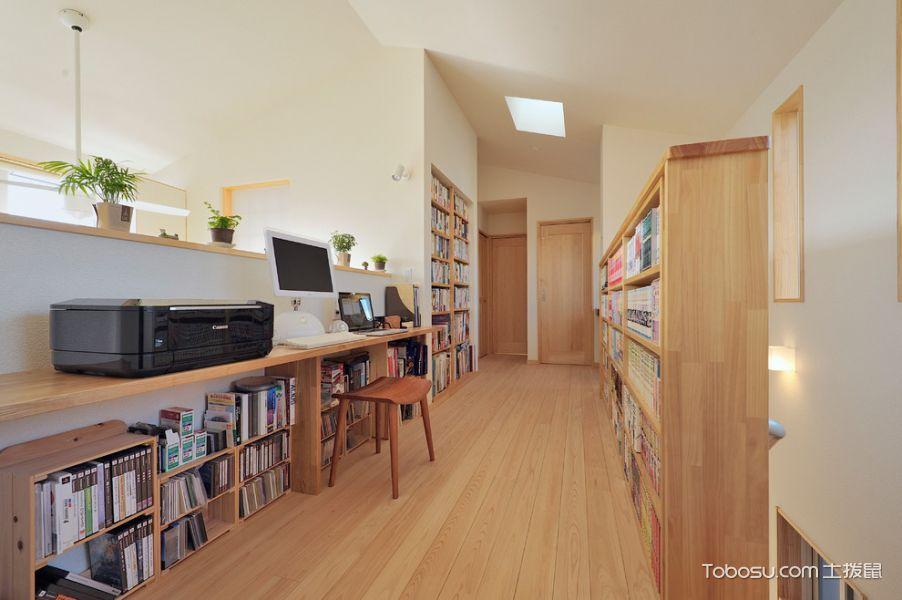 书房橙色书架日式风格装修效果图