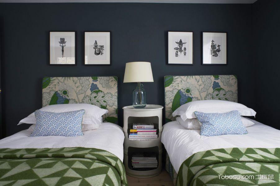 卧室绿色照片墙混搭风格装饰图片