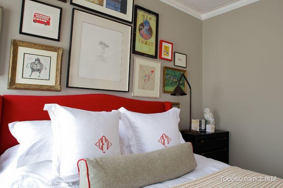 卧室灰色照片墙混搭风格装潢设计图片
