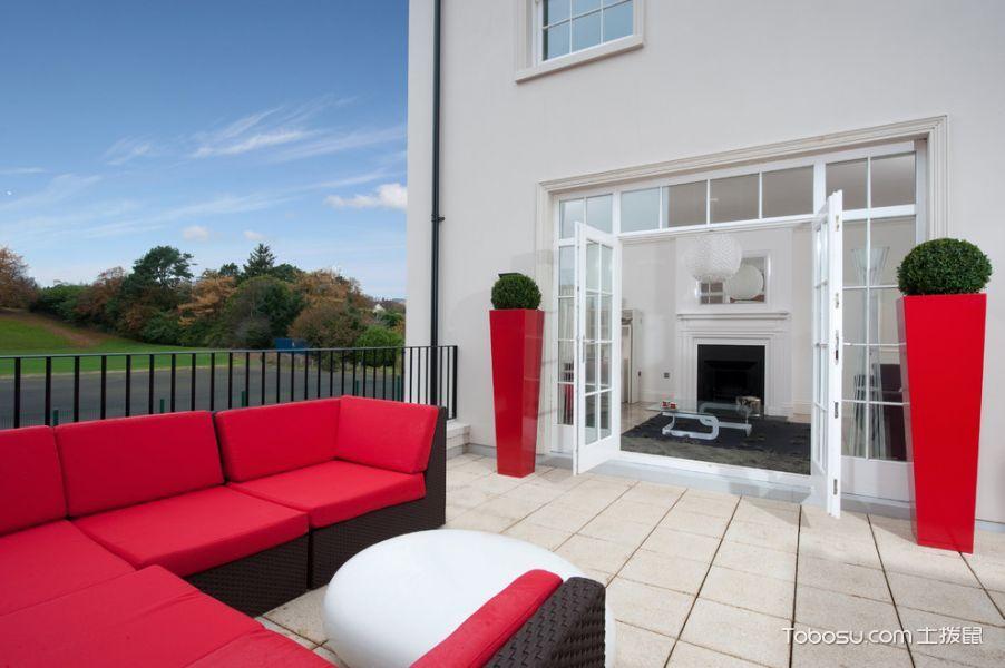 阳台红色沙发现代风格装饰设计图片