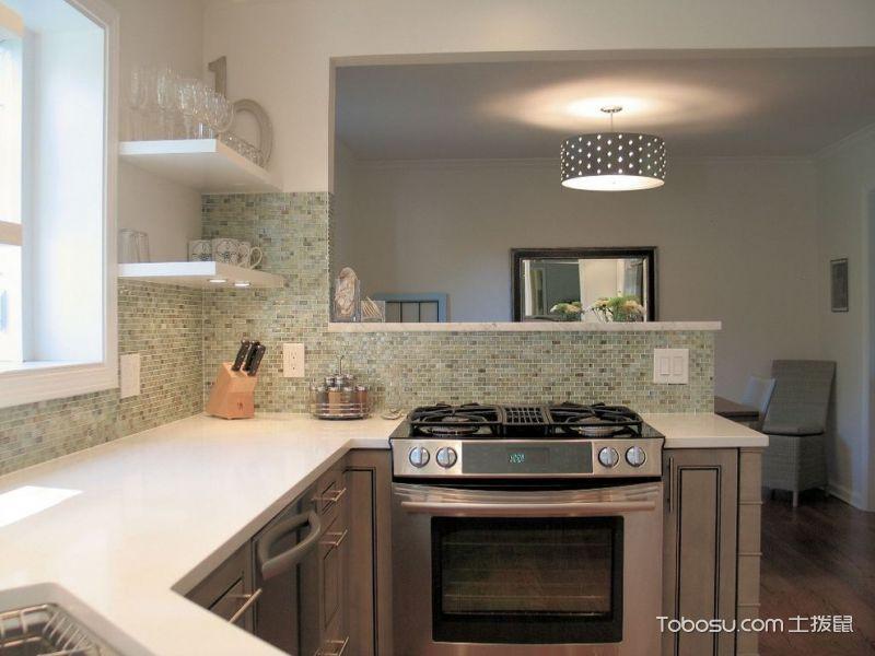 厨房绿色背景墙混搭风格效果图