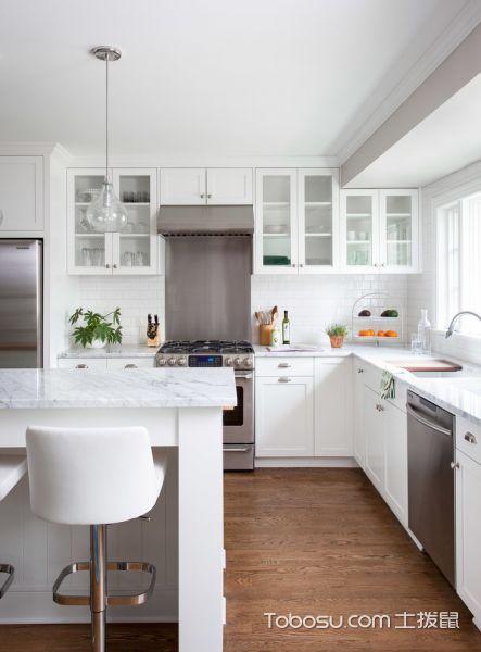 厨房白色灯具美式风格装潢效果图
