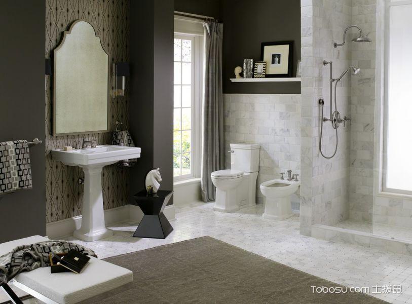 卫生间白色地板砖现代风格装修图片