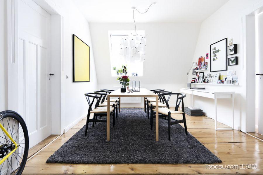 餐厅白色餐桌北欧风格效果图