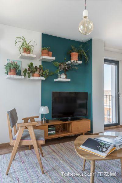 客厅米色茶几北欧风格装潢图片