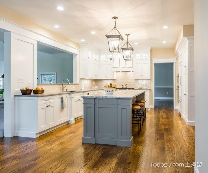 厨房灰色厨房岛台美式风格效果图