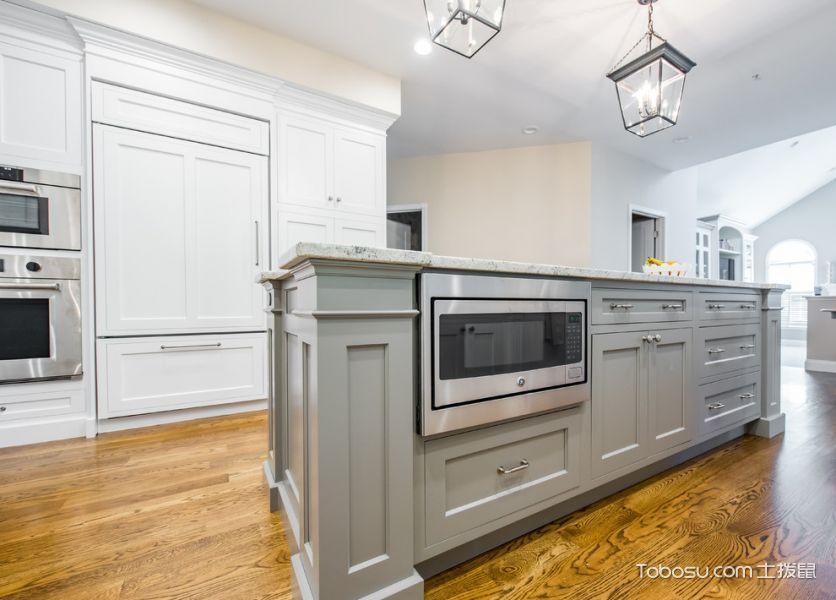 厨房白色灯具美式风格装饰效果图