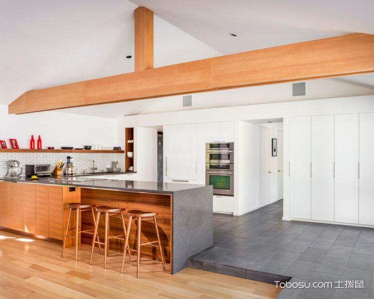 厨房橙色厨房岛台北欧风格装修图片
