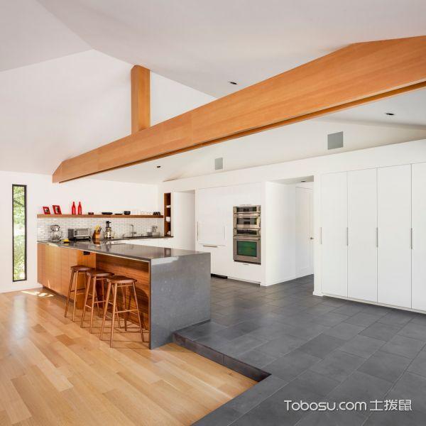 厨房灰色地板砖北欧风格装饰设计图片