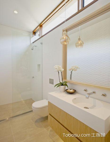 卫生间白色洗漱台现代风格装潢设计图片