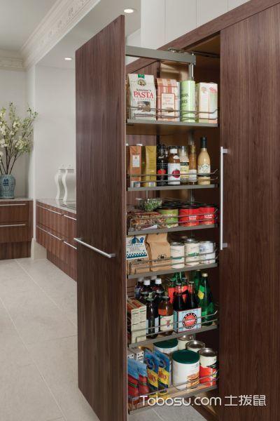 厨房咖啡色橱柜现代风格装修图片