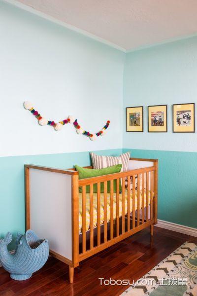 儿童房绿色床混搭风格装潢效果图