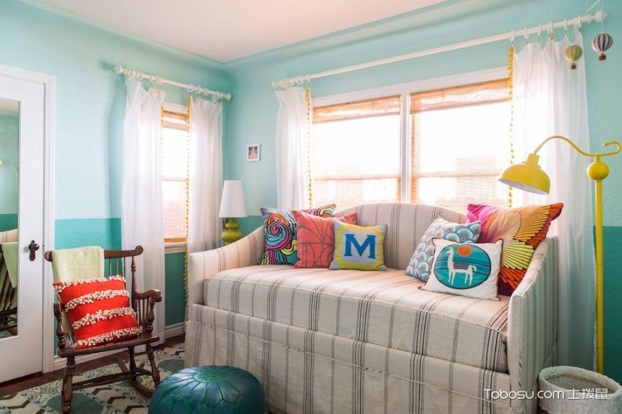 儿童房白色窗帘混搭风格装修设计图片