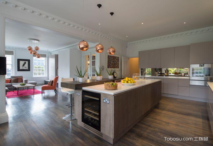 厨房米色灯具现代风格装修图片