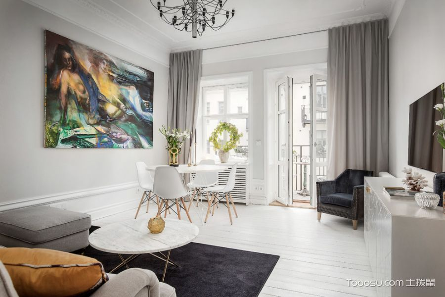 客厅白色吊顶北欧风格装饰设计图片_土拨鼠装修效果图