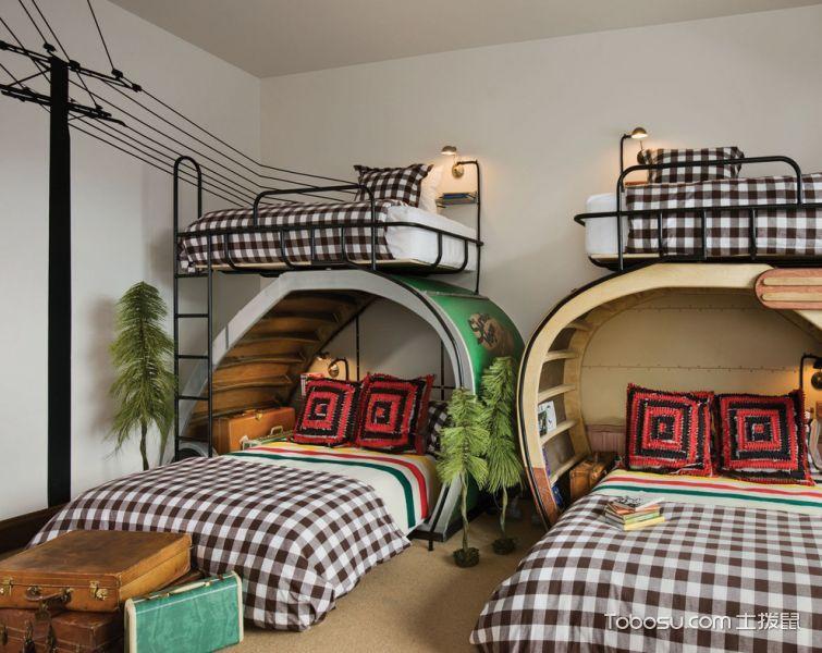 儿童房白色床混搭风格效果图