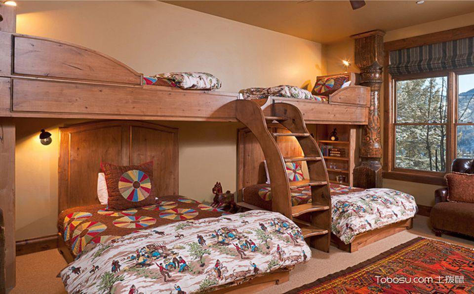 儿童房橙色床混搭风格装饰效果图