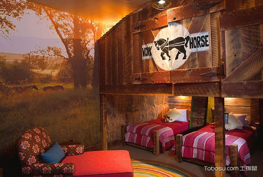 儿童房米色背景墙混搭风格装饰图片