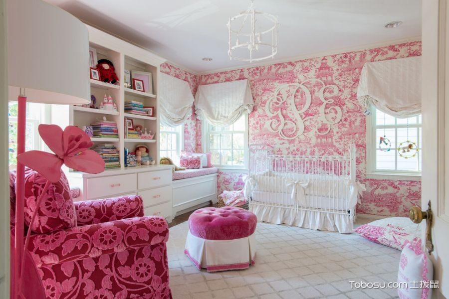 儿童房粉色背景墙混搭风格装饰图片