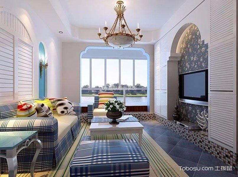 仙林悦城95平米地中海风格三居室装修效果图