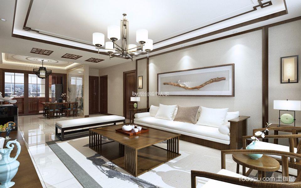 滨州医学院新中式风格三居室130平米装修效果图