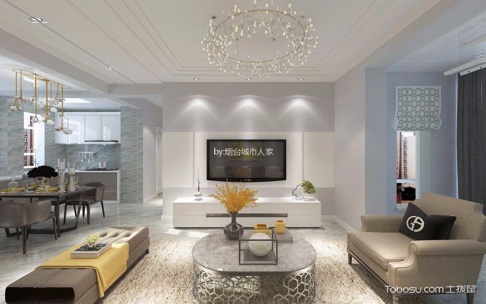 客厅 走廊_万达华府120平现代简约平层装修效果图