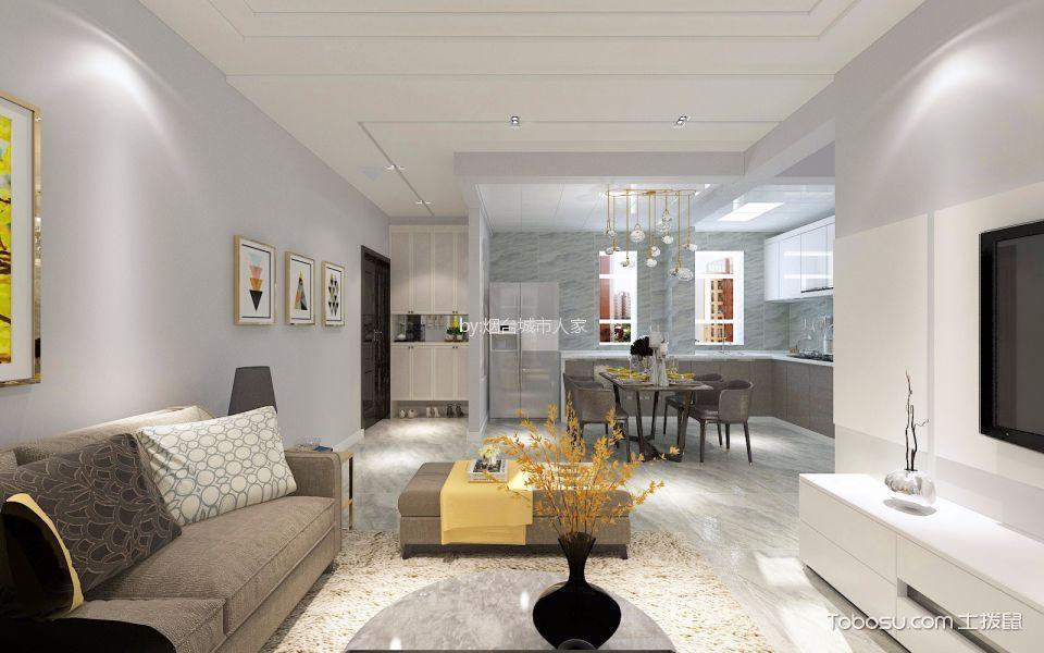 客厅 吊顶_万达华府120平现代简约平层装修效果图