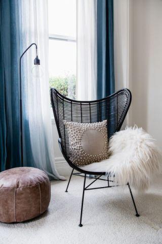 卧室蓝色北欧风格装饰图片