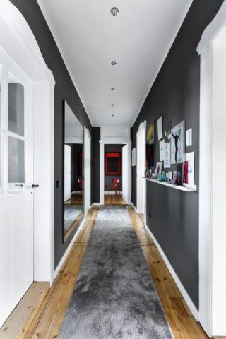 玄关灰色背景墙北欧风格装潢图片