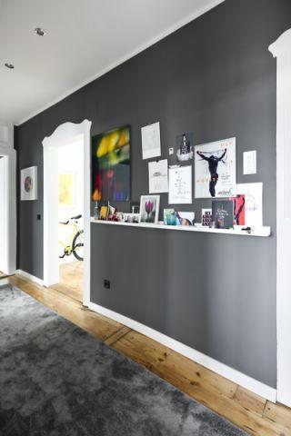 玄关灰色背景墙北欧风格装饰设计图片