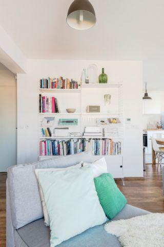 客厅白色书架北欧风格效果图