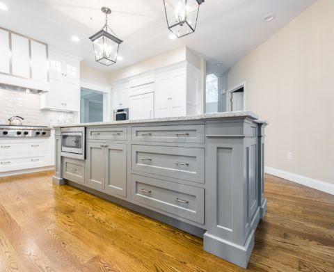 厨房灰色厨房岛台美式风格装饰图片