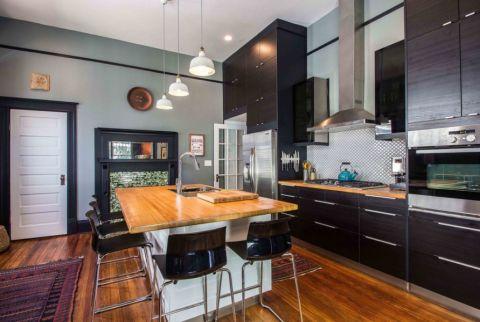 厨房绿色厨房岛台简欧风格装饰效果图