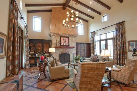 客厅米色吊顶地中海风格装潢效果图