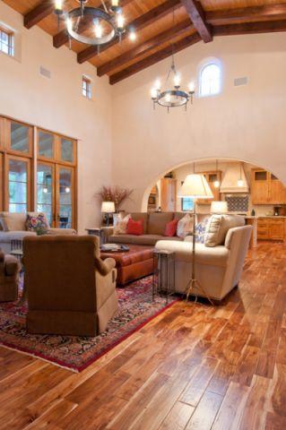 客厅咖啡色沙发地中海风格装饰图片