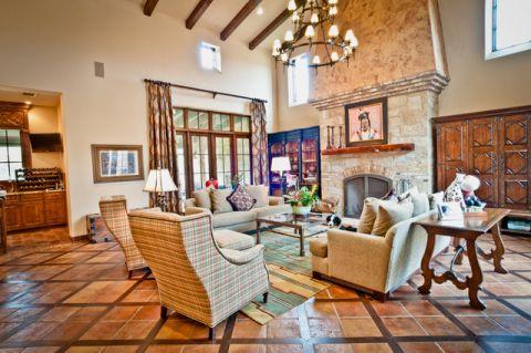 客厅橙色沙发地中海风格装潢图片