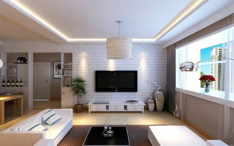 雅居是一家三口,二楼采光不是很好,选用浅色建材。背景墙贴了文化砖的壁纸,简易浪漫,搭配原木色桌椅。客餐厅以吊顶做了分区。淡淡的灰色墙,整个居室形成北欧简易风。