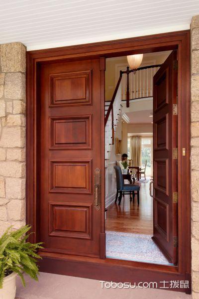 玄关红色门厅美式风格装潢设计图片